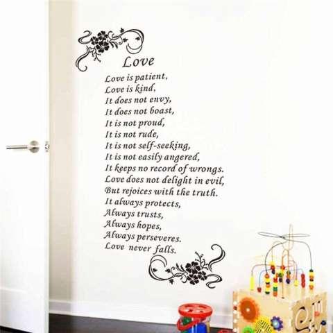 Cinta Itu Sabar Kutipan Bunga Vine Ruang Tamu Stiker Tembok Kamar Tidur Stiker Vinil Dekorasi Rumah Wallpaper Poster Seni Mural-Intl 2