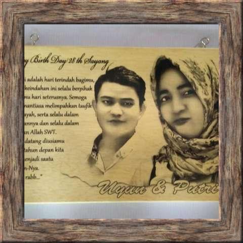 Lukisan Kayu (BAYAR DITEMPAT/COD) Custom Foto Dan Tulisan Kado Hadiah Ulang Tahun