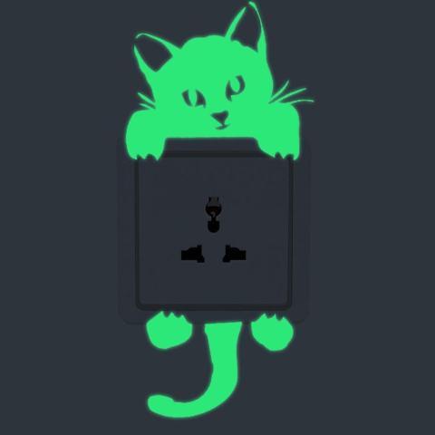 Bercahaya Kucing Stiker Tembok Lampu Dekorasi Stiker Seni Mural Kamar Anak Bayi-Intl 4
