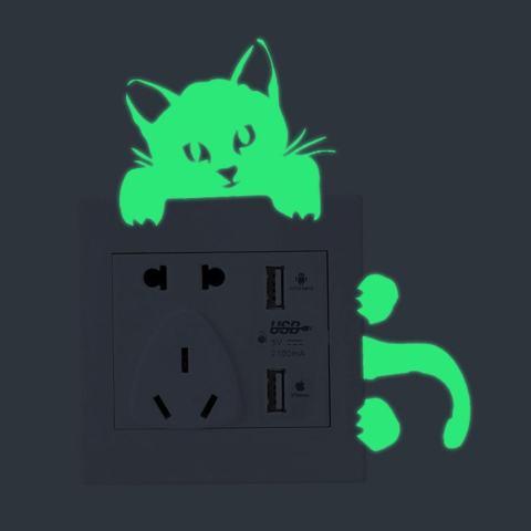 Bercahaya Kucing Stiker Tembok Lampu Dekorasi Stiker Seni Mural Kamar Anak Bayi-Intl 1
