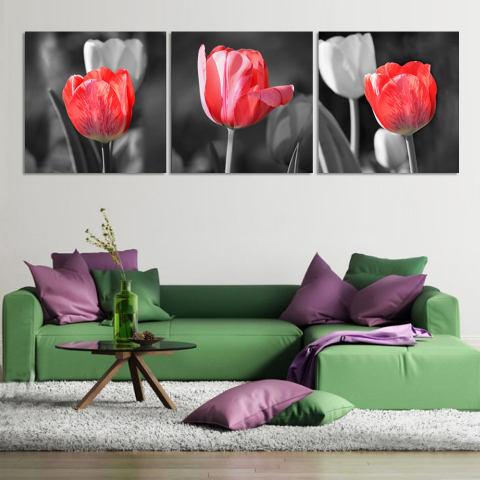 Mewah 3 Panel Panas Modern Jual Lukisan Dinding Rumah Seni Dekoratif Cetak Foto Di Kanvas Cetak Merah And Kelabu Bunga -bunga Tulip, (tanpa Bingkai) 1