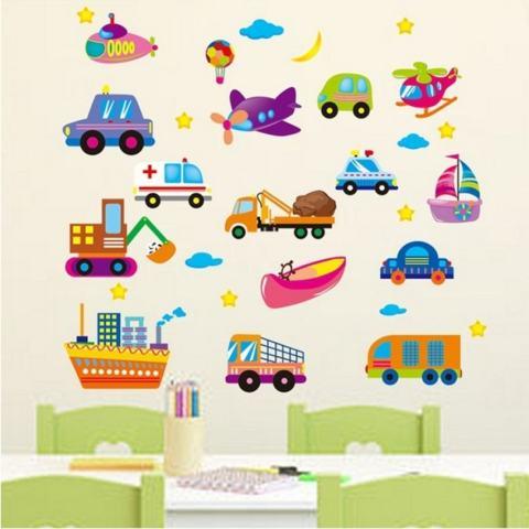 LZ Kartun Pesawat Mobil Kapal Ambulans Bulan Stiker Dinding Bintang Homesticker Mural PVC Kertas Vinil Hiasan Rumah Kertas Dinding Ruang Tamu Kamar Tidur Dapur Gambar Seni DIY untuk Anak Remaja Senior adultnursery Baby-Intl 2