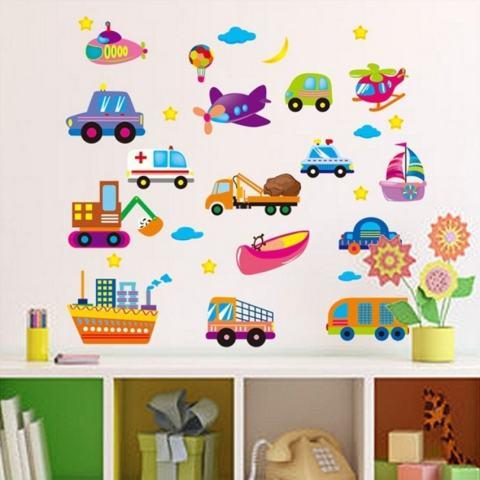 LZ Kartun Pesawat Mobil Kapal Ambulans Bulan Stiker Dinding Bintang Homesticker Mural PVC Kertas Vinil Hiasan Rumah Kertas Dinding Ruang Tamu Kamar Tidur Dapur Gambar Seni DIY untuk Anak Remaja Senior adultnursery Baby-Intl 3