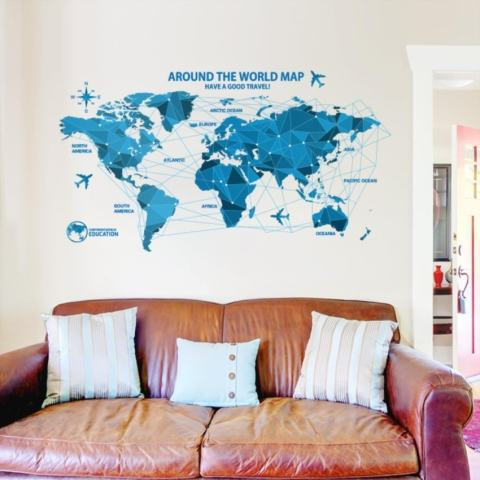 LZ Dunia Origami Peta Tempat Kerja Kantor House Removable Stiker-Internasional 1