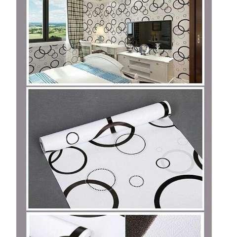 M016 Wallpaper Sticker ku - Rings bubble hitam silver 45cm x 10m wallpaper dinding 2