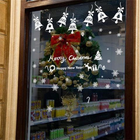 Merry Christmas Bells DIY Vinyl Stiker Dinding Kaca Hiasan Jendela Rumah Stiker Seni Kreatif 3D Wallpaper Dekorasi 1