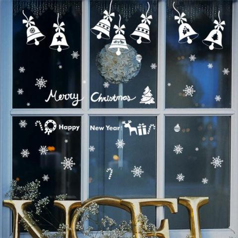 Merry Christmas Bells DIY Vinyl Stiker Dinding Kaca Hiasan Jendela Rumah Stiker Seni Kreatif 3D Wallpaper Dekorasi 2