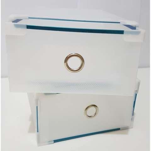 Miracle 5 pcs Kotak Sepatu Slide Clear dengan Metal List, Ring dan Sudut Plastik -
