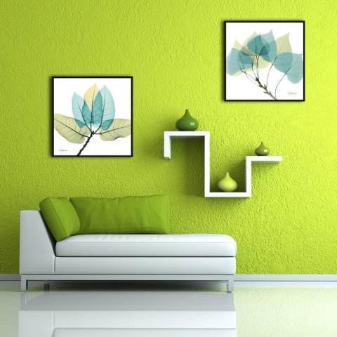 Modern Sederhana Tiga Ruang Keluarga Bunga Transparan Dekoratif Lukisan Koridor Kamar Tidur Restoran Kotak Lukisan Putih 40*40*3 Cm-Intl 2