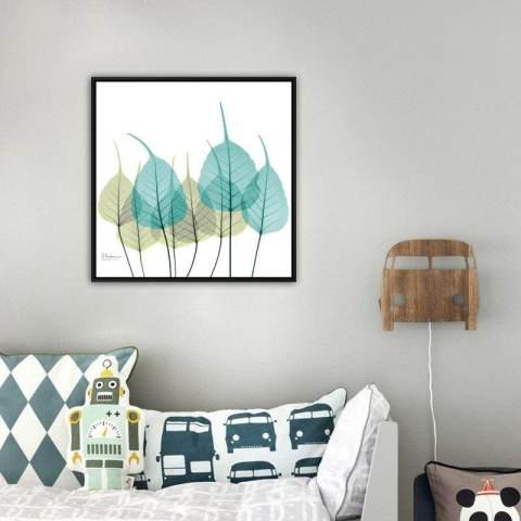 Modern Sederhana Tiga Ruang Keluarga Bunga Transparan Dekoratif Lukisan Koridor Kamar Tidur Restoran Kotak Lukisan Putih 40*40*3 Cm-Intl 1
