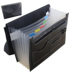 Multifunction Expandable Portable Accordion A4 File Folder Document Wallet Briefcase PU Leather Business File Organizer Bag 7 Pockets with Pen Holder and Card Slot