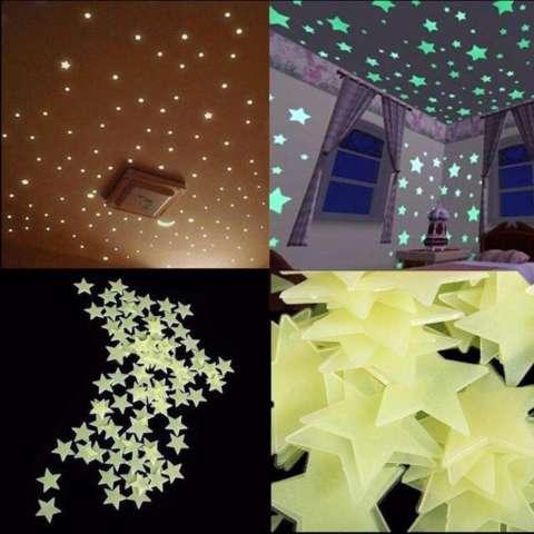 Naindo - 100 pcs Bintang-Menyala dalam gelap-untuk hiasan Kamar dan Ruang tamu 2