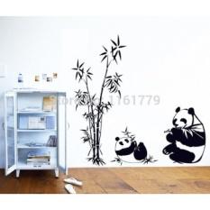 Baru Hitam Giant 100*90 Cm Panda Bambu Stiker Dinding Ruang Tamu TV Dinding Sofa Removable Home Stiker Dinding Stiker Art Ay9051-Intl