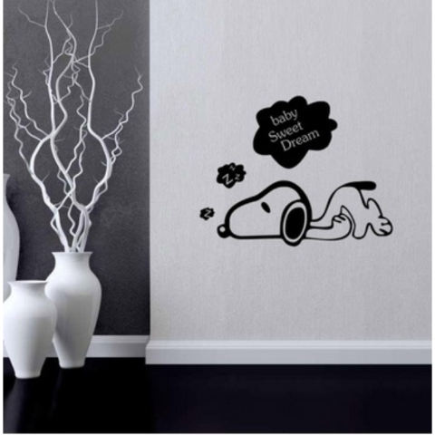Baru Kartun Anak Snoopy DIY Dekorasi Stiker Dinding Lucu Anjing Hiasan Kamar Anak-anak 3