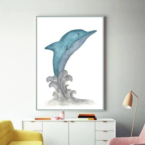 Baru Lukisan Berlian Penuh Bor Restoran Kamar Tidur Anak Buatan Tangan Kartun Sederhana Dolphin Bor Tongkat Jahitan Menyilang-Intl 1