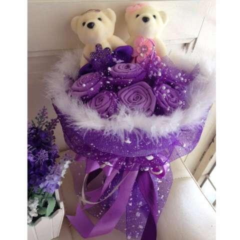 Onemarkets Buket Bunga Anniversary Kado Valentine/ Wisuda 6B+2B - Ungu