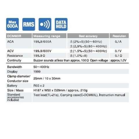 ORIGINAL Sanwa DCM60R TrueRMS Digital Clamp Meter Tang Amper Ampere Test Cek Tegangan Listrik Voltase Tes