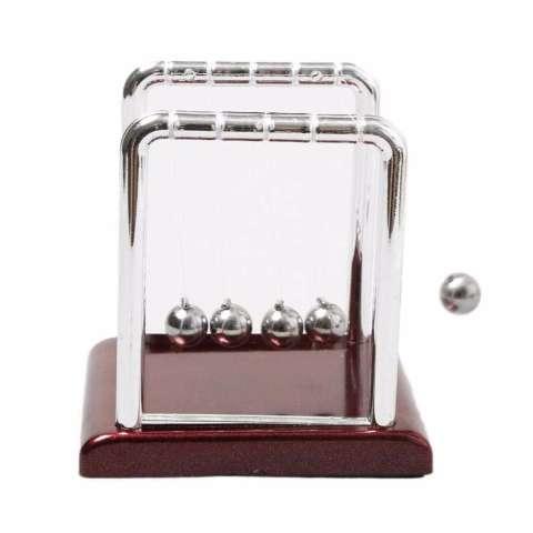 Pajangan Meja Pendulum Newton Hiasan Meja Kantor - Silver Brown 2