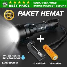 Paket Senter Taffware C8 Senter LED Cree Q5 + Baterai + Charger