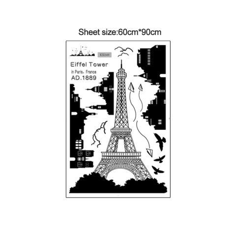 Paris Menara Eiffel Night Pemandangan Indah Romantis Sederhana Hitam DIY Wall Stiker Wallpaper Dekorasi Seni Mural Room Decal-Intl 1