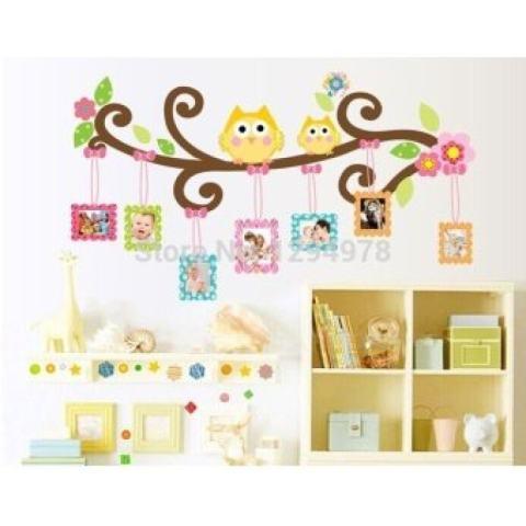 Orang Favorit Maskot Burung Hantu Bingkai Foto Gambar Stiker Dinding Menghias Ruang Duduk Anak-anak Kamar Tidur Stiker Dinding CC6965-Intl 1