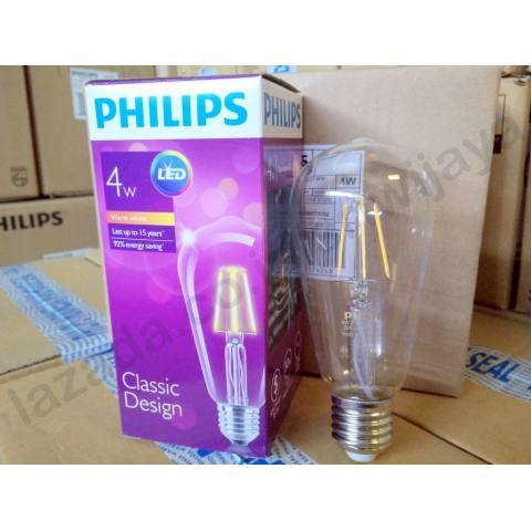 Philips LED Classic 4W ST64 E27 Cahaya Kuning - Lampu Edison
