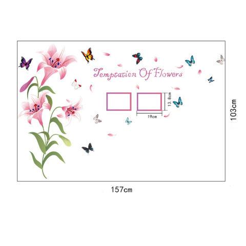 Berwarna merah muda kelopak bunga Lily bingkai foto kupu-kupu di rumah PVC stiker dinding mural Paper House Wallpaper ruang tamu dekorasi kamar tidur gambar seni untuk anak remaja dewasa Senior bayi - International 3