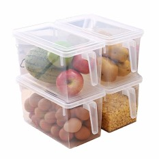 Wadah Penyimpanan Plastik Persegi Menangani Makanan Penyimpanan Organizer Kotak dengan Tutup untuk Kulkas Kulkas Kabinet Meja (Set dari 4 pack, besar Organizer Tempat Sampah)-Internasional