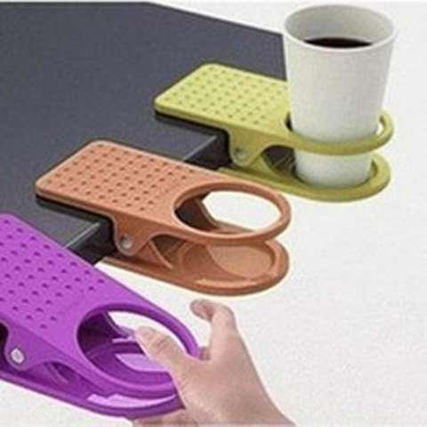 Plastic Table Coffee Cup Holder Cup Clip tempat minum meja kerja