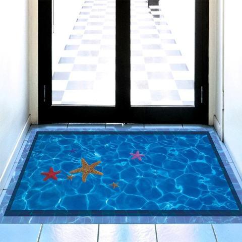 Pontus Tiga Dimensi Pantai Lantai Dinding Stiker Bisa Dilepas Mural Tahan Air Stiker Hiasan Kamar Stiker Kreatif-Intl 2