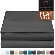 "Premium Flat Sheet ""110 GSM"" Thick, Soft & Most Comfortable Hotel Luxury Brushed Microfiber Single Flat Bed Sheets, Queen Size, Charcoal Gray - Bedroom Essentials by Empyrean Bedding - intl"
