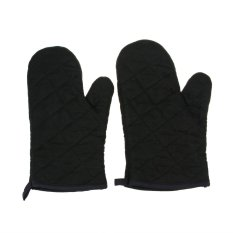Pure Cotton Kitchen Essential 1 Pair Baking Gloves Check Pattern Thick Heat Resistant Insulation Oven Mitt 18*28CM - Black