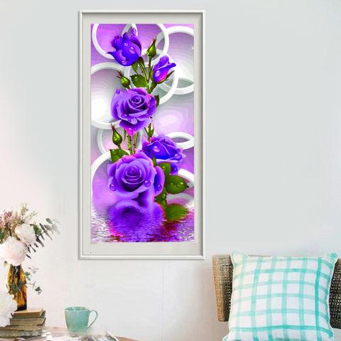 Ungu Mawar Bunga 5D Diamond Buatan Sendiri Lukisan Dekorasi Rumah Kerajinan-Internasional 1