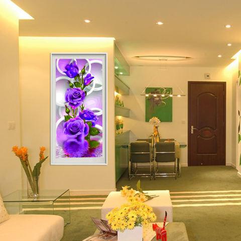Ungu Mawar Bunga 5D Diamond Buatan Sendiri Lukisan Dekorasi Rumah Kerajinan-Internasional 3
