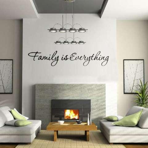 Quote Keluarga Adalah Segalanya Dekorasi Rumah Dapat Dilepas Stiker Dinding Hitam-Intl 3