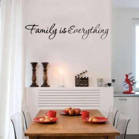 Quote Keluarga Adalah Segalanya Dekorasi Rumah Dapat Dilepas Stiker Dinding Hitam-Intl 2