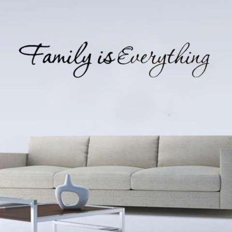 Quote Keluarga Adalah Segalanya Dekorasi Rumah Dapat Dilepas Stiker Dinding Hitam-Intl 1