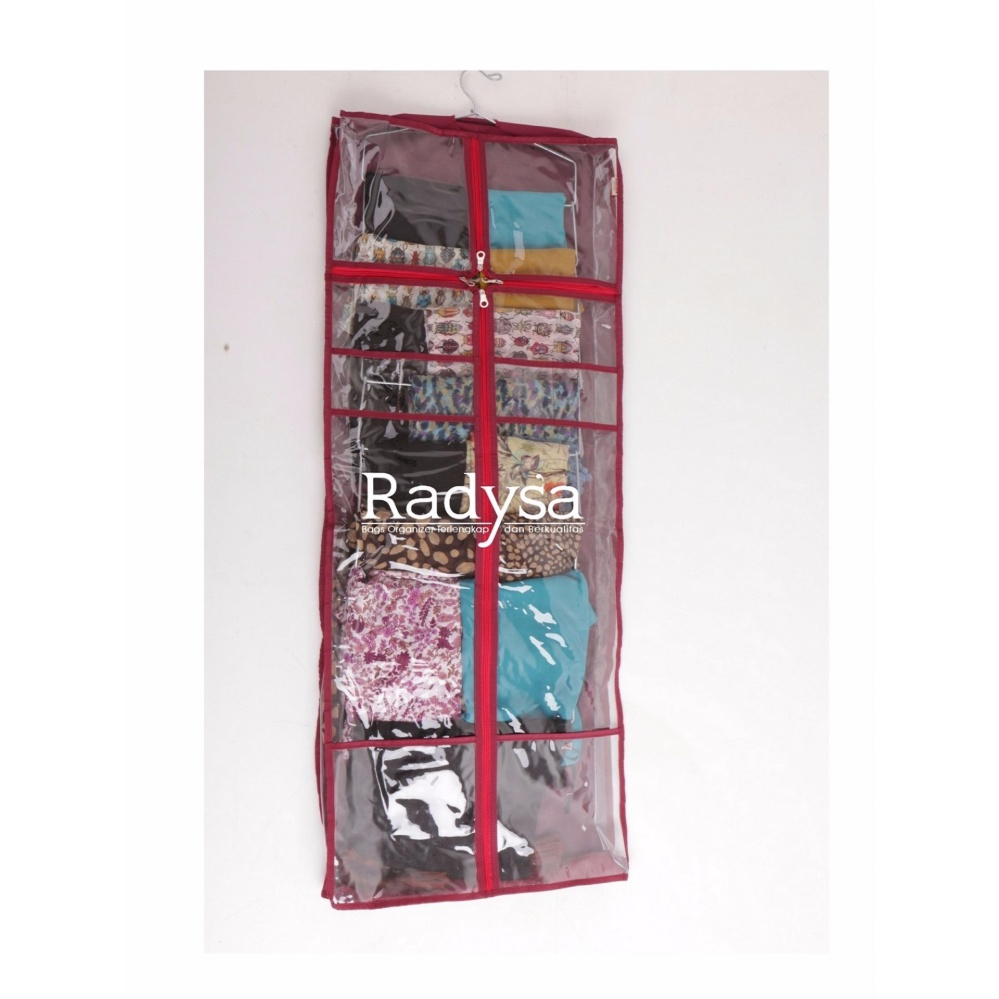 Radysa Hanging Bag Organizer Rak Tas Gantung Maroon Random Colour Set Sepatu Hijab Jilbab Jumbo
