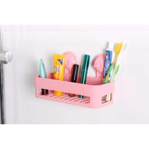 Rak Gantung Serbaguna 02 Tempat Shampoo Bumbu Dapur Dipasang Tanpa Paku dan Tanpa Bor - HOTPINK