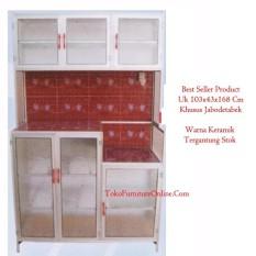 Rak Lemari Piring Dapur Alumunium Keramik 3 Pintu Magic Com
