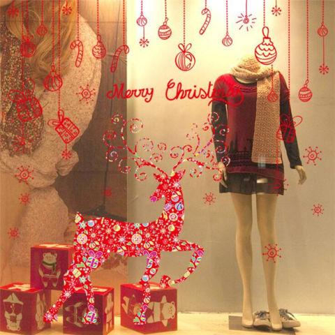 Merah Rusa Natal PVC Stiker Dinding Hiasan Rumah Vinil untuk Ruang Tamu Dekorasi Ruang Kamar Tidur Ruang Keluarga DIY Decal Bisa Dilepas Mural 1