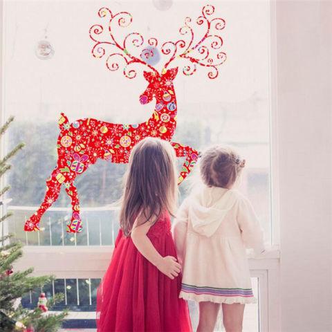 Red Elk Natal PVC Wall Stiker Vinyl Home Decor untuk Dekorasi Kamar Tidur Kamar Tidur Ruang Tamu Stiker Bisa Dilepas PASANG SENDIRI Mural -Intl 1