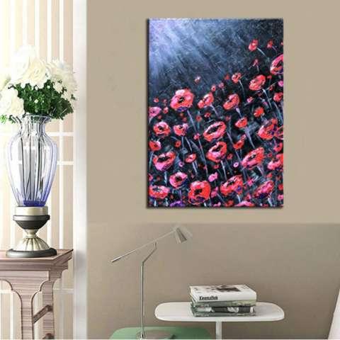 Bunga Merah Di Bawah Sinar Bulan Lukisan Tangan Abstrak Lukisan Pemandangan Menggunakan Cat Minyak Pada Kanvas Dekorasi Seni Modern-Internasional 1