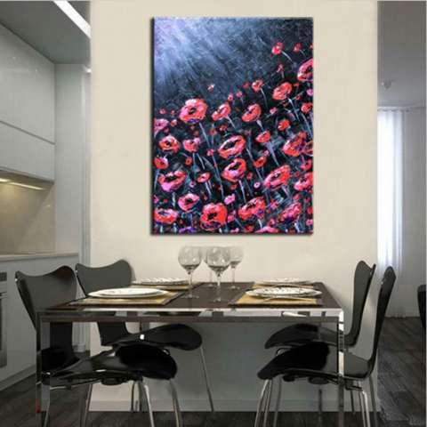 Bunga Merah Di Bawah Sinar Bulan Lukisan Tangan Abstrak Lukisan Pemandangan Menggunakan Cat Minyak Pada Kanvas Dekorasi Seni Modern-Internasional 2
