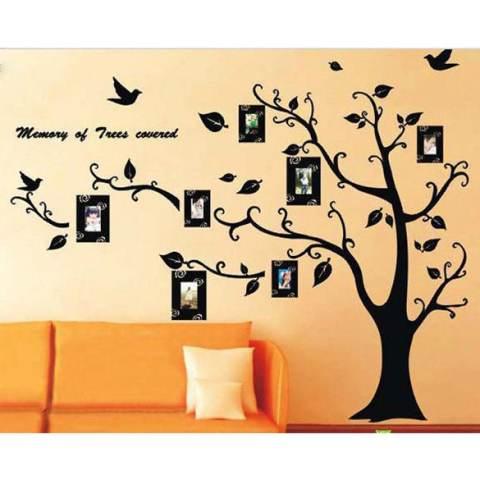 Dekorasi Kamar Yang Dapat Dilepas Keluarga Bingkai Foto Hitam Pohon Dinding Stiker Dinding Stiker 1