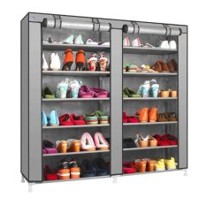 Retail Station Shoe Rack 12 Layers with Dust Cover / Rak Sepatu - Gray