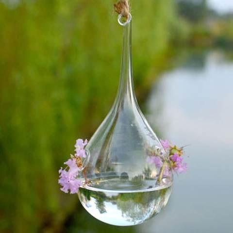 RIS Bening Water DROP Dinding Kaca Vas Gantung Botol untuk Hiasan Bunga Tanaman 3