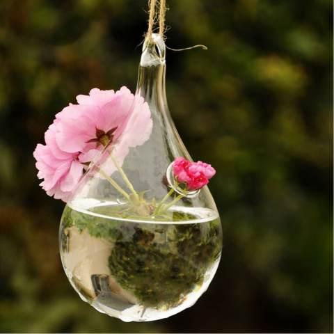 RIS Bening Water DROP Dinding Kaca Vas Gantung Botol untuk Hiasan Bunga Tanaman 1