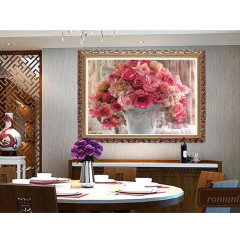 Mawar pot bunga 5D Diamond diseduh sendiri lukisan kerajinan dekorasi rumah Kit - Internasional 3