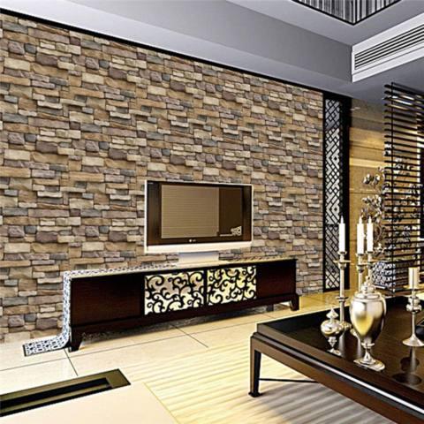 Self-adhesive 3D Kertas Dinding Latar Belakang Dinding SA-1007 Simulasi Vein Rock Pola Batu Bata Wallpaper Restoran Decoration Wall Stiker -Intl 1
